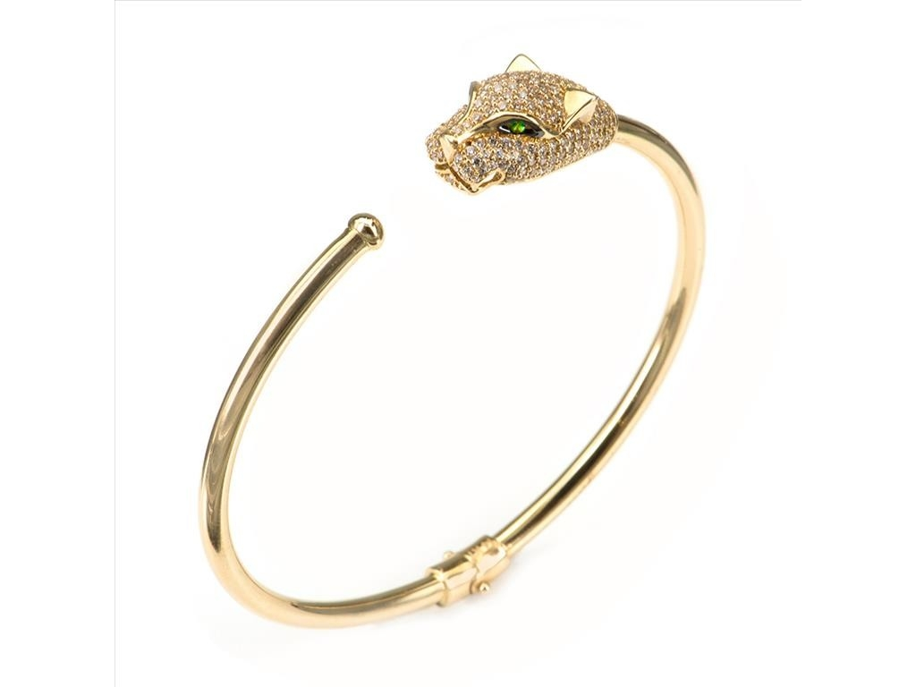 15f5f7525 Panther Bangle in 14k yellow gold set with stones