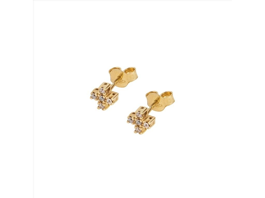 Cross Stud Earrings 14k Yellow Gold With Stones