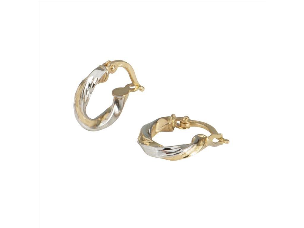 Twist Hoop Earrings 14k Gold Two Tone