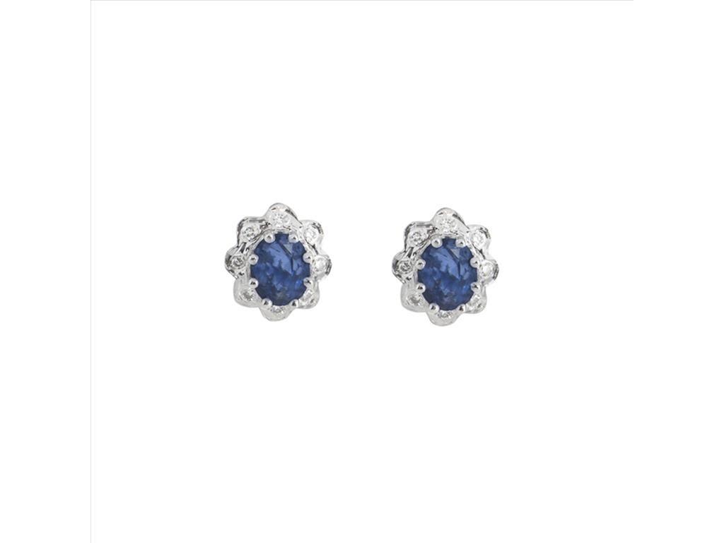 18k White Gold Rosetta Diamond Shire Stud Earrings