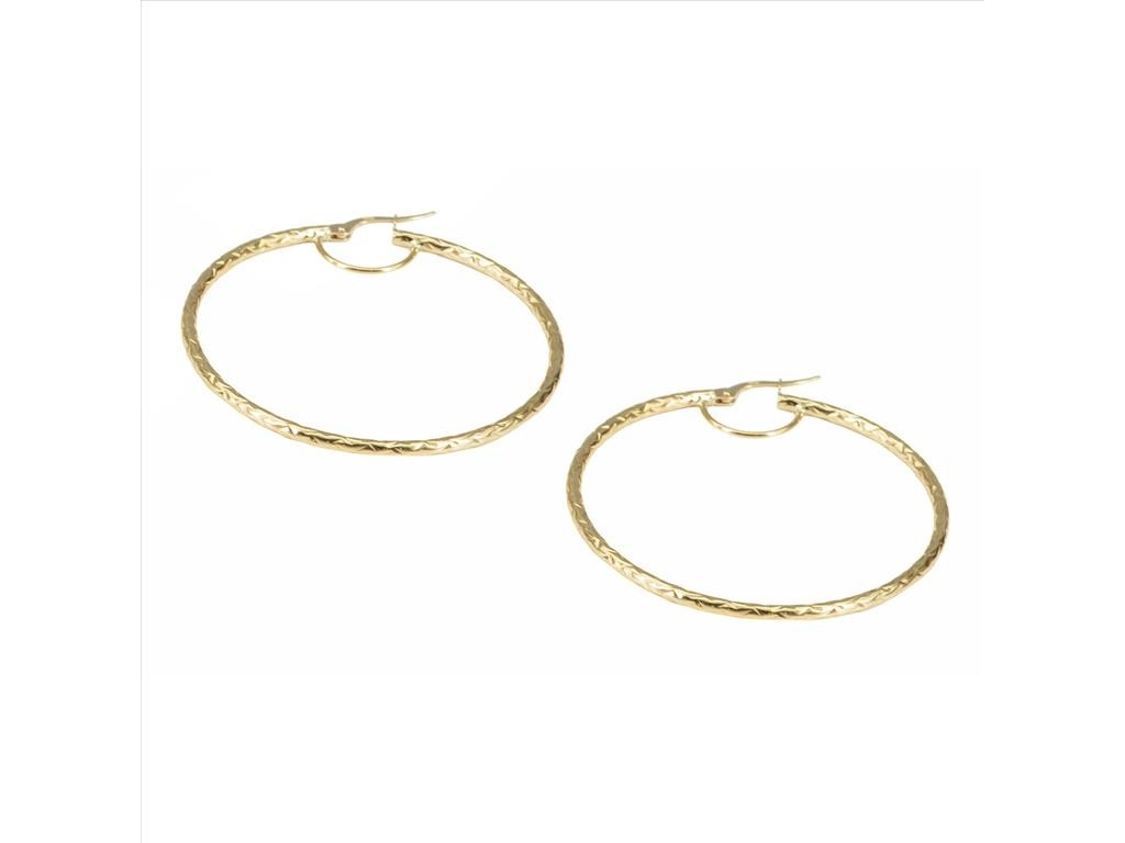 Textured Round Hoop Earrings 14k Yellow Gold Diamond Cut