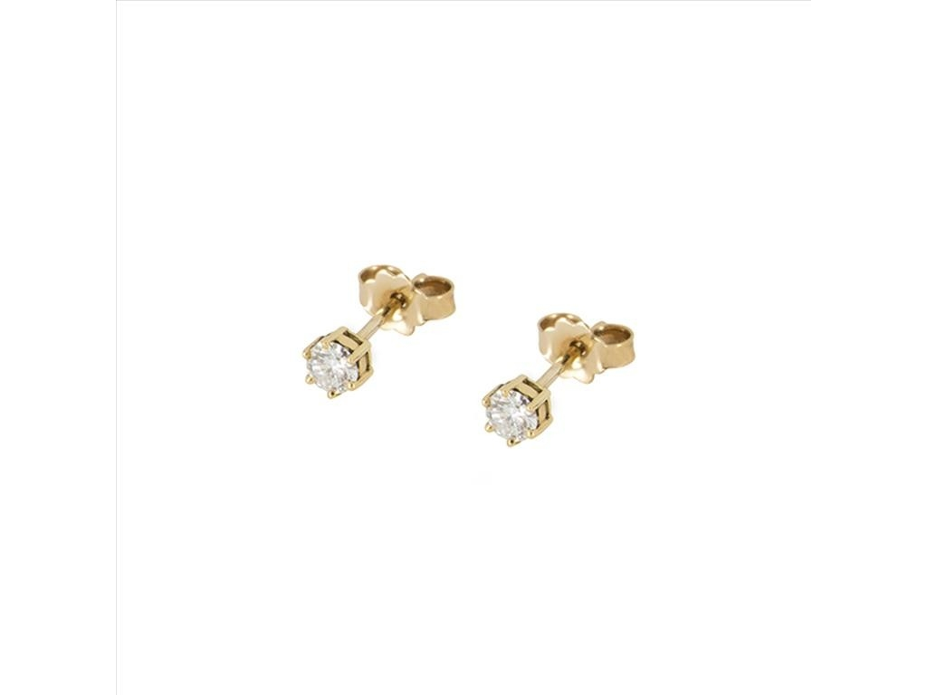 18k Yellow Gold One Stone Diamond Stud Earrings