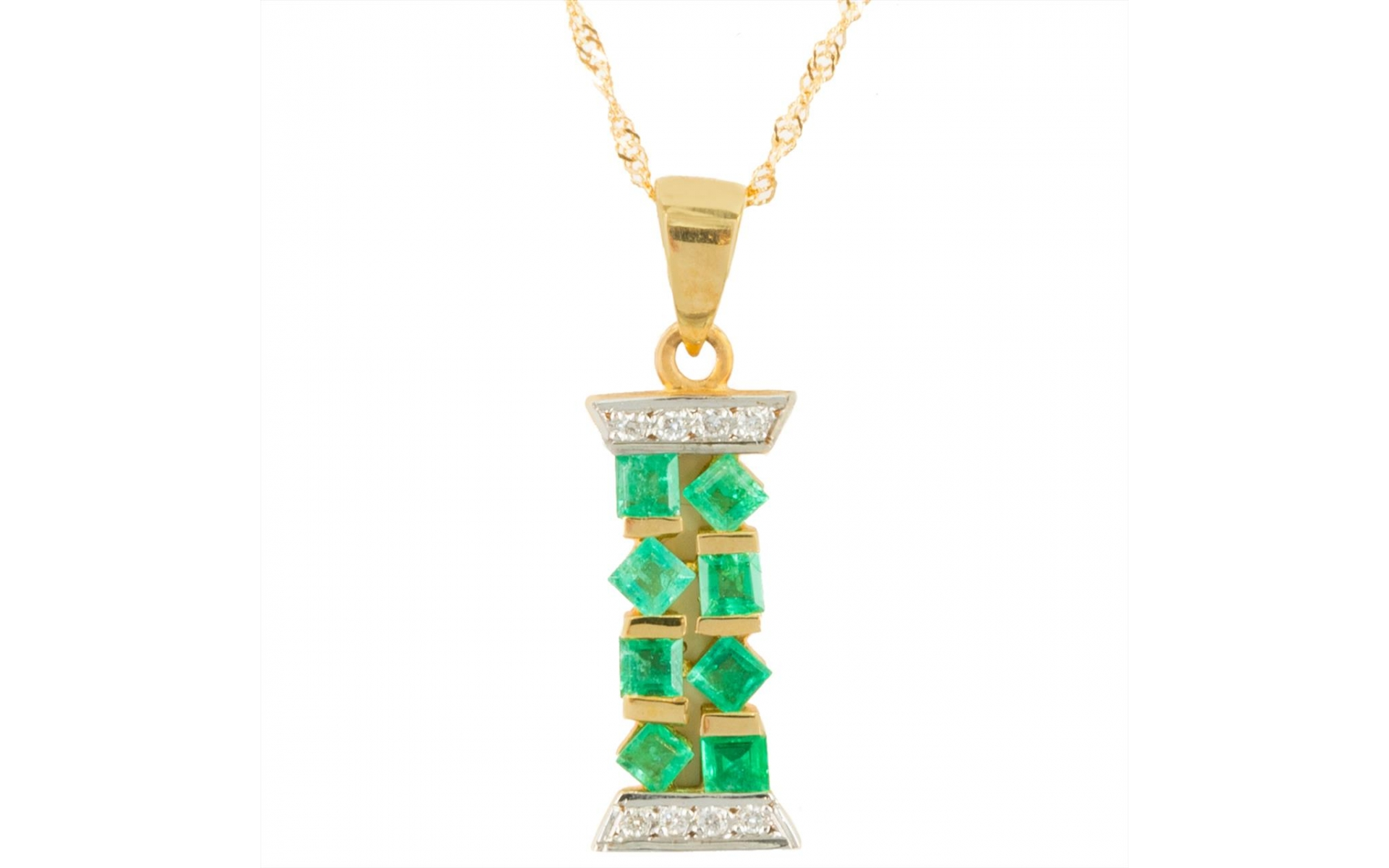 14k Yellow Gold Emerald 0 74 Ct Pendant Necklace Set With