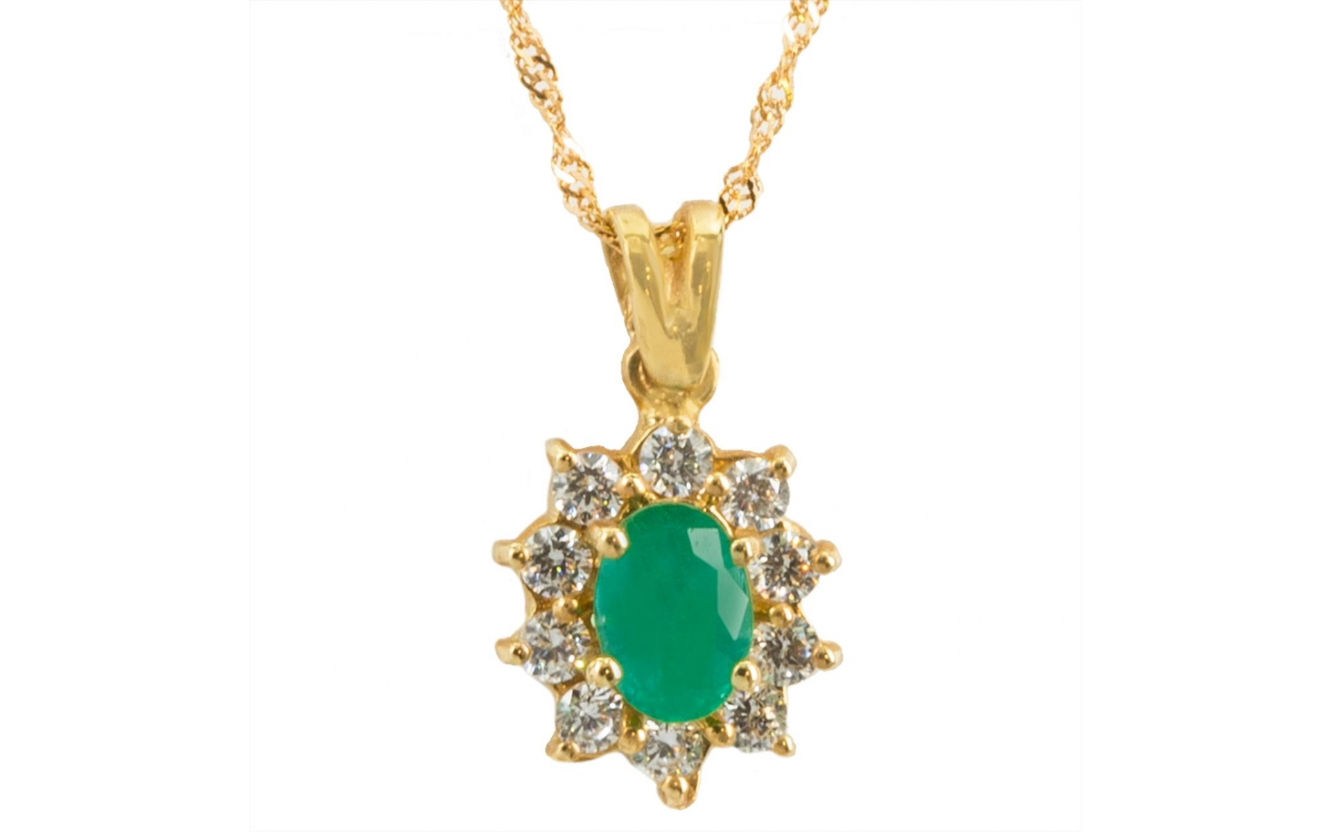 14k Yellow Gold Emerald 0 65 Ct Rosetta Pendant Necklace Set With