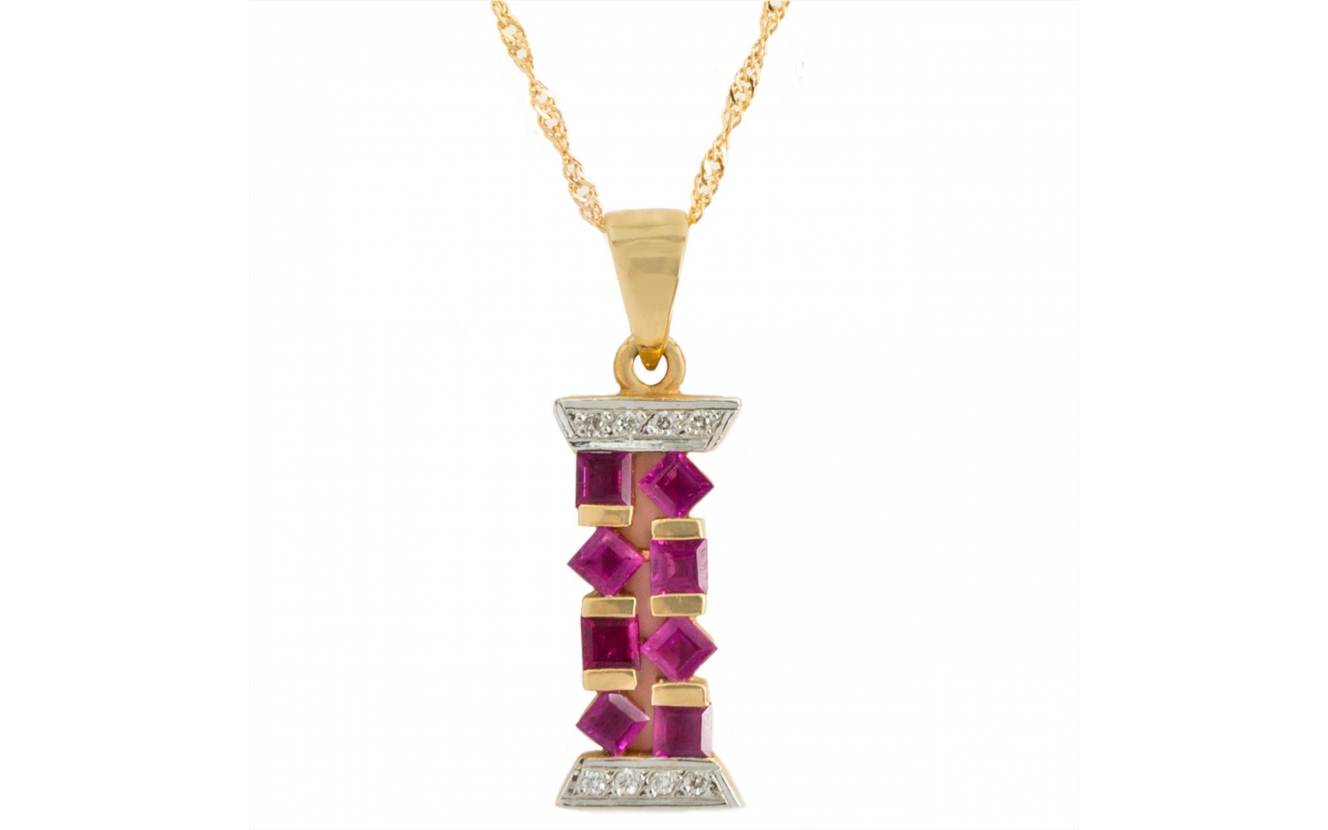 14k Yellow Gold Ruby 0 90 Ct Pendant Necklace Set With Zirconia