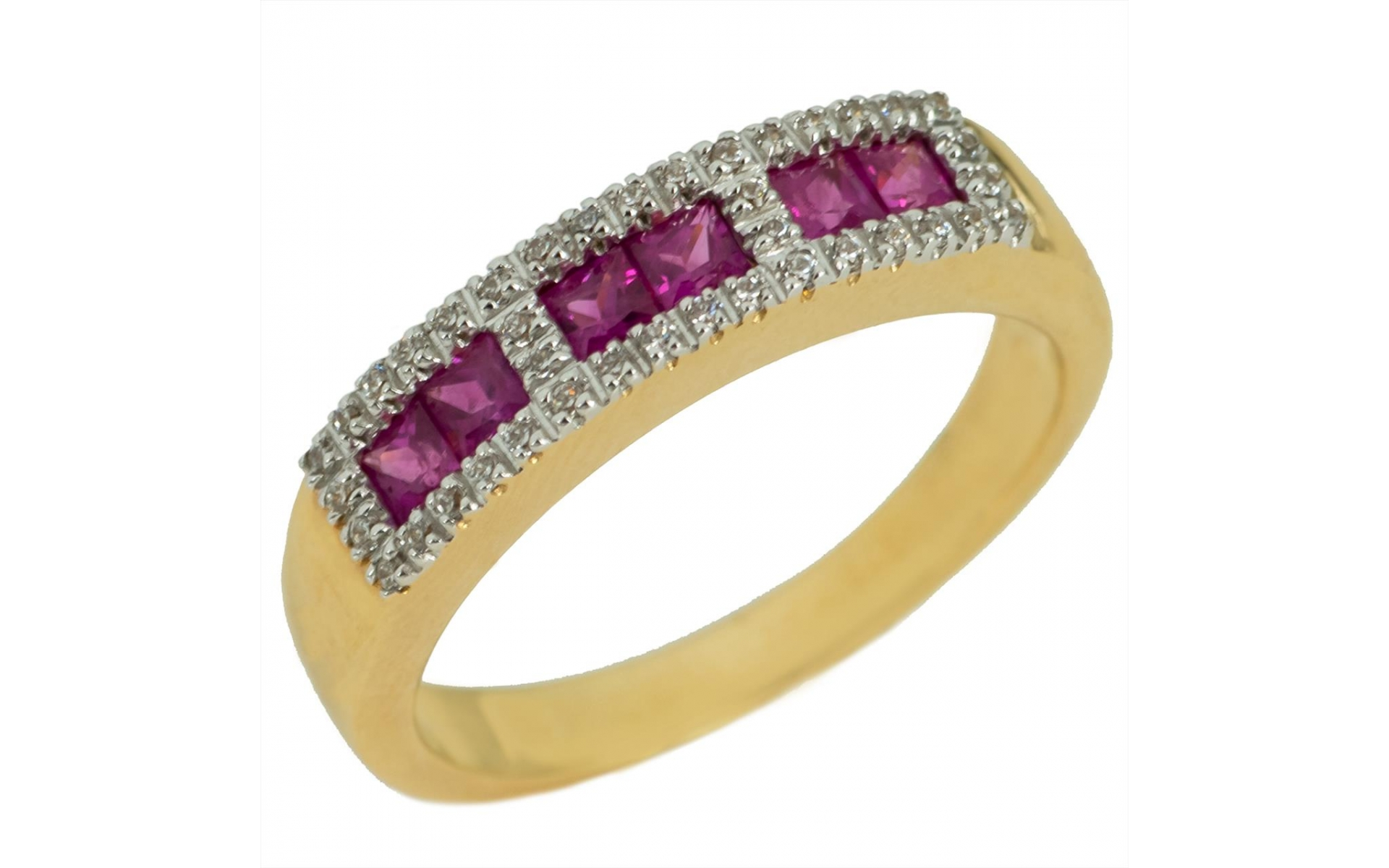 Modern Ruby 1 50 Ct Ring In 14k Yellow Gold Set With Zirconia Stones
