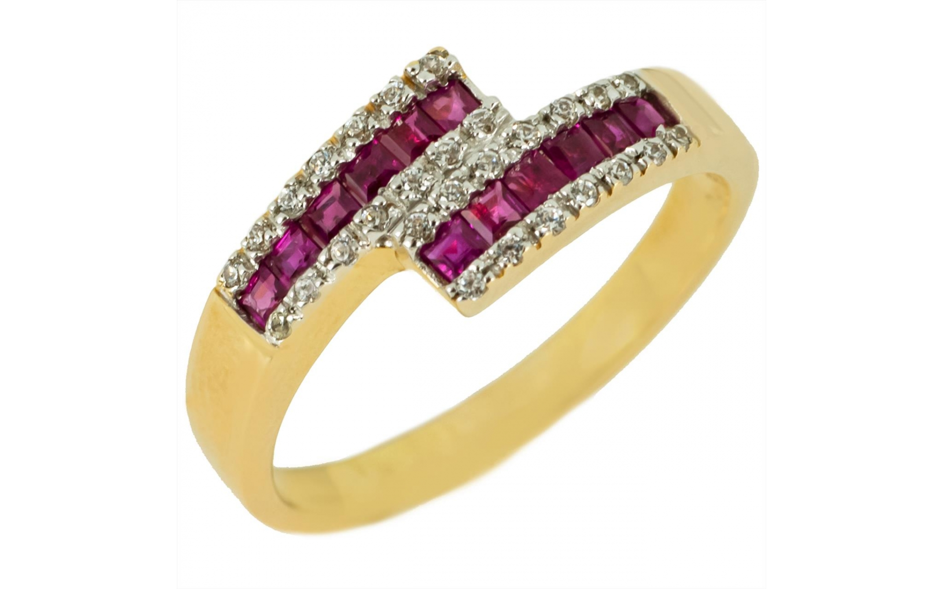 Modern Ruby 0 60 Ct Ring In 14k Yellow Gold Set With Zirconia Stones